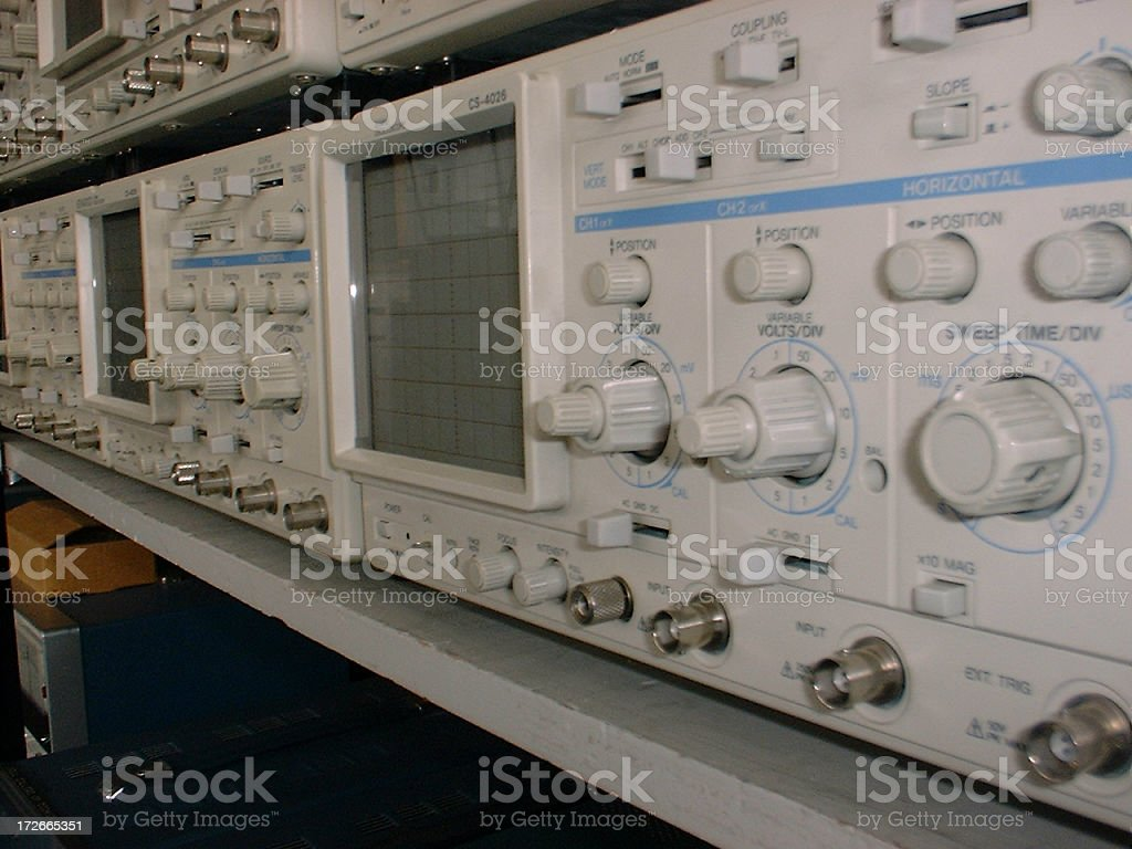Racked Oscilloscopes royalty-free stock photo