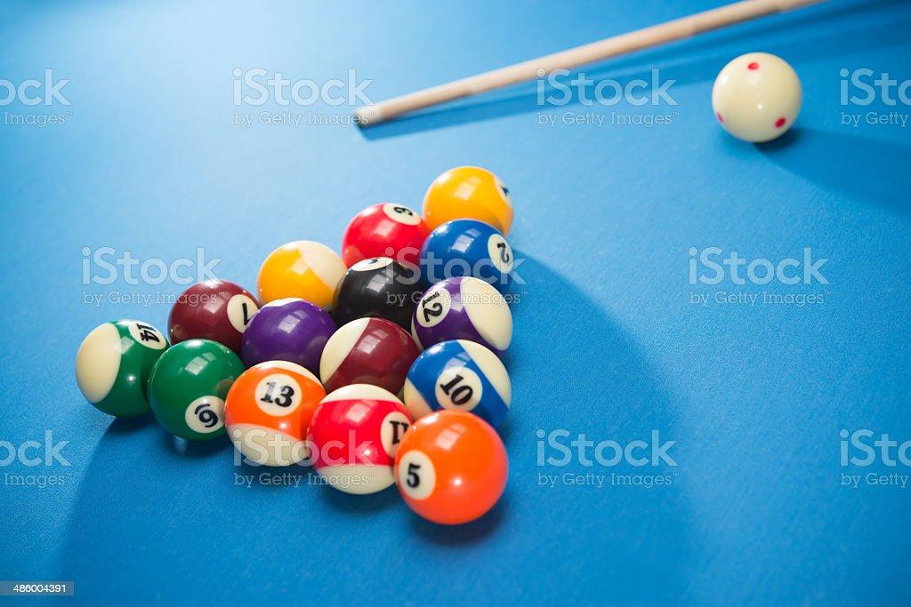 Racked Pool Balls stock photo