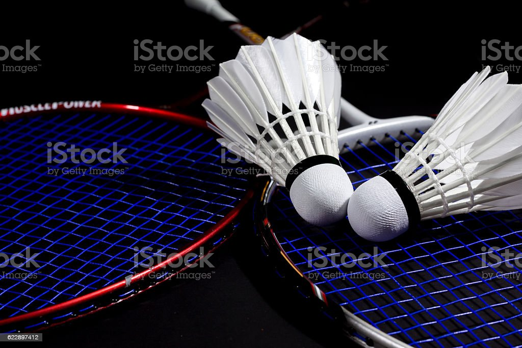 Racket and a shuttlecock. stock photo