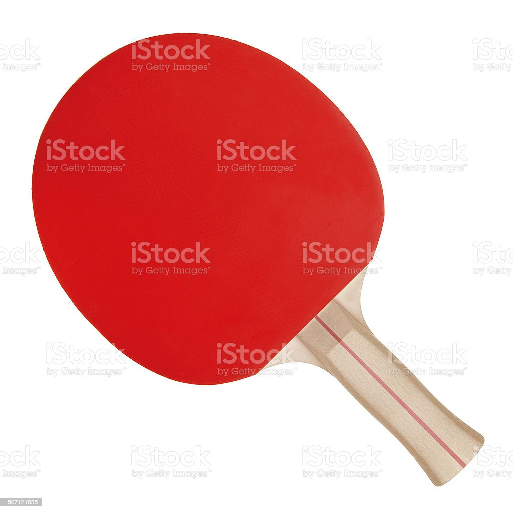 Racket for ping-pong and ball on white background stock photo