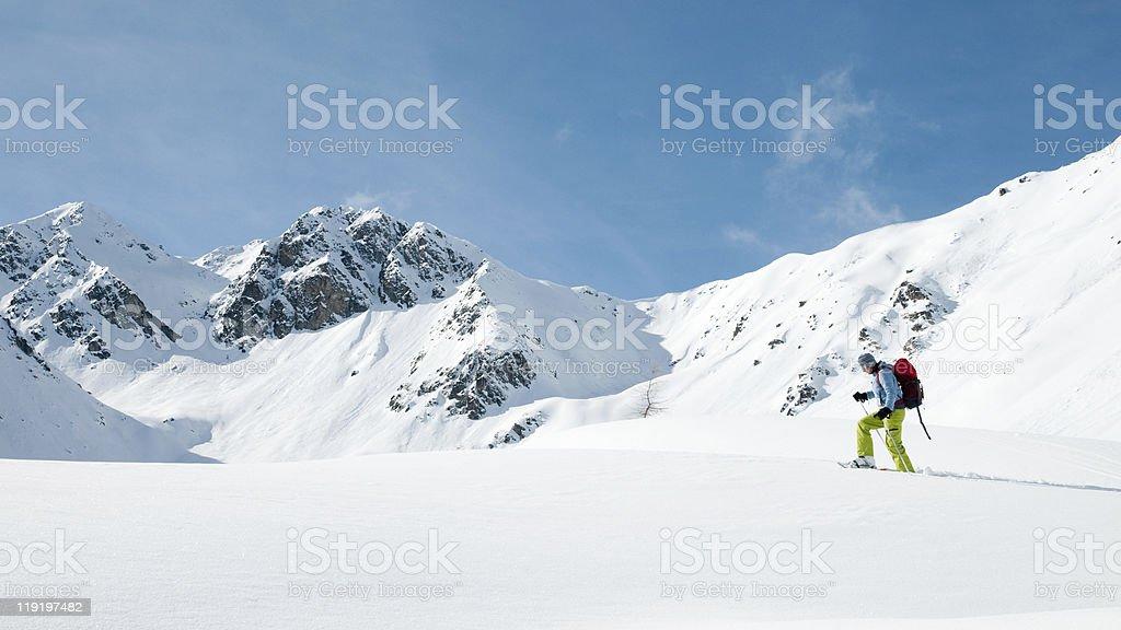 Racket trekking in mountain stock photo