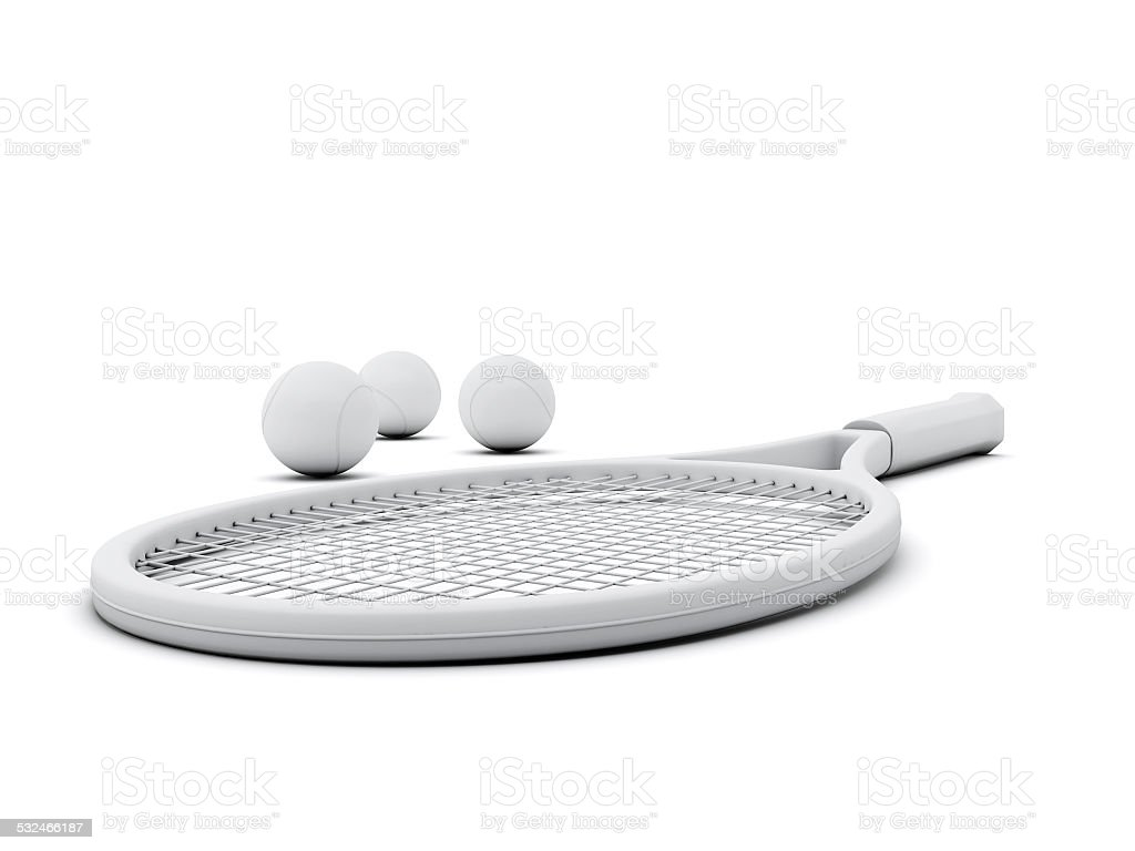Rackets With Tennis Ball on White Background stock photo