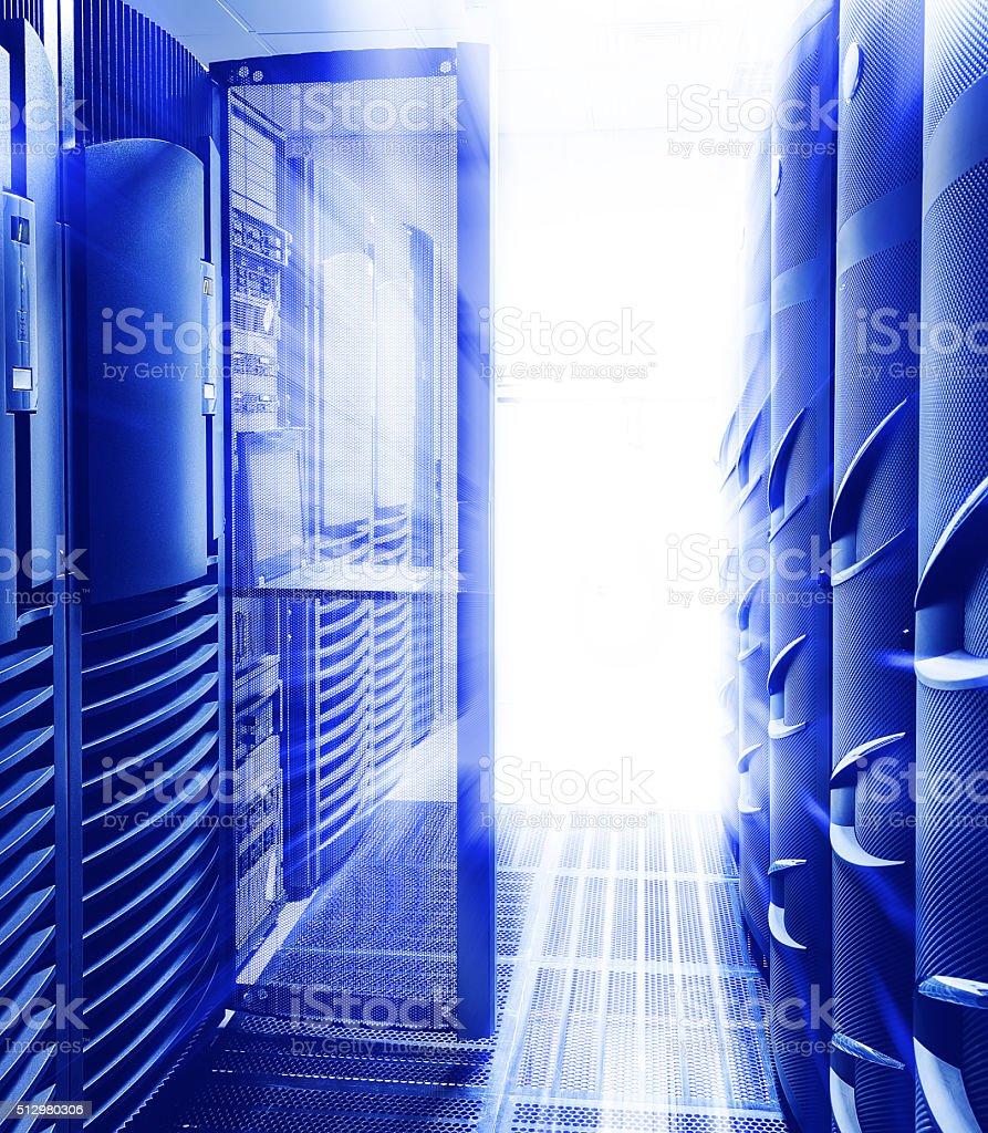 Rackmount Keyboard Monitor KVM Console supercomputers motiom  blue light stock photo