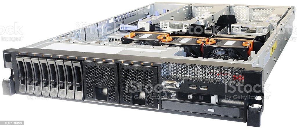 Rack-mount server over white royalty-free stock photo