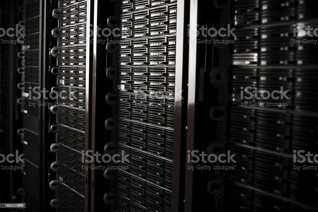 Rackmount Servers in a Data Center stock photo