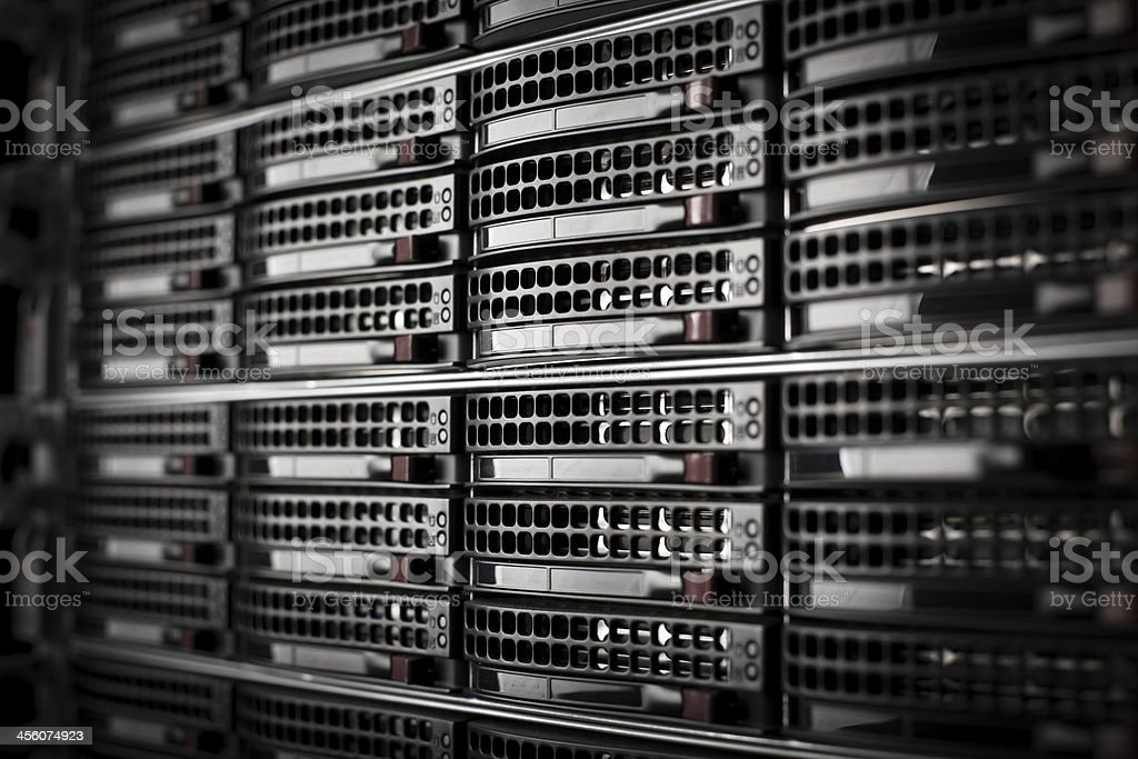 Rackmounted Servers in a Data Center stock photo