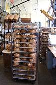 Racks of Bread in Bakery