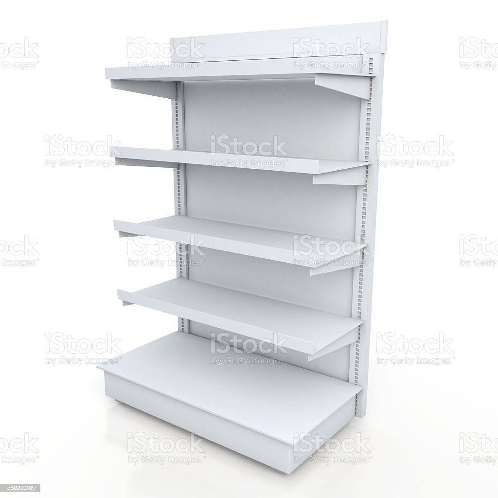 racks shelves for products showing in isolated background stock photo