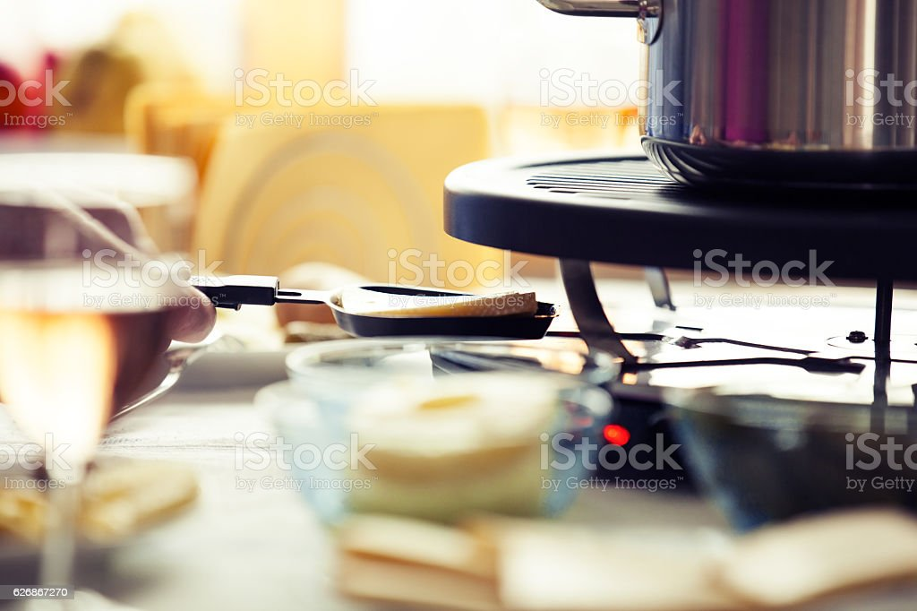 Raclette close up stock photo