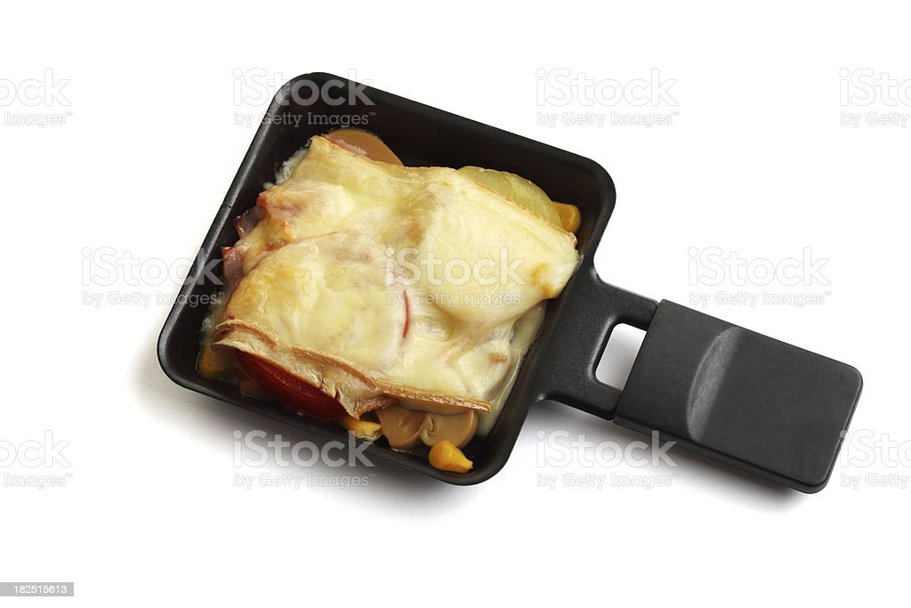 Raclette Pan with Food stock photo