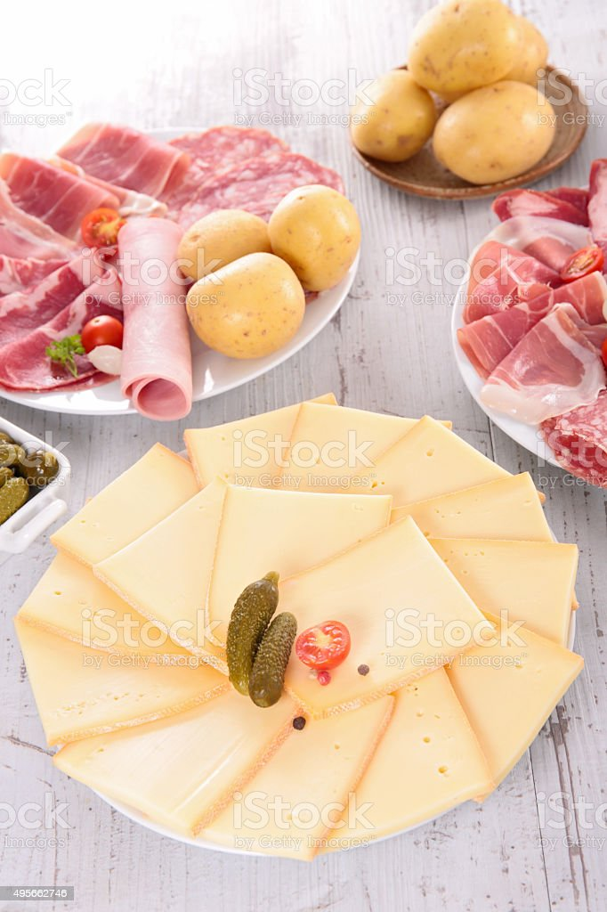 raclette party stock photo