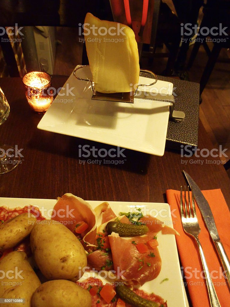 Raclette Swiss Culture stock photo