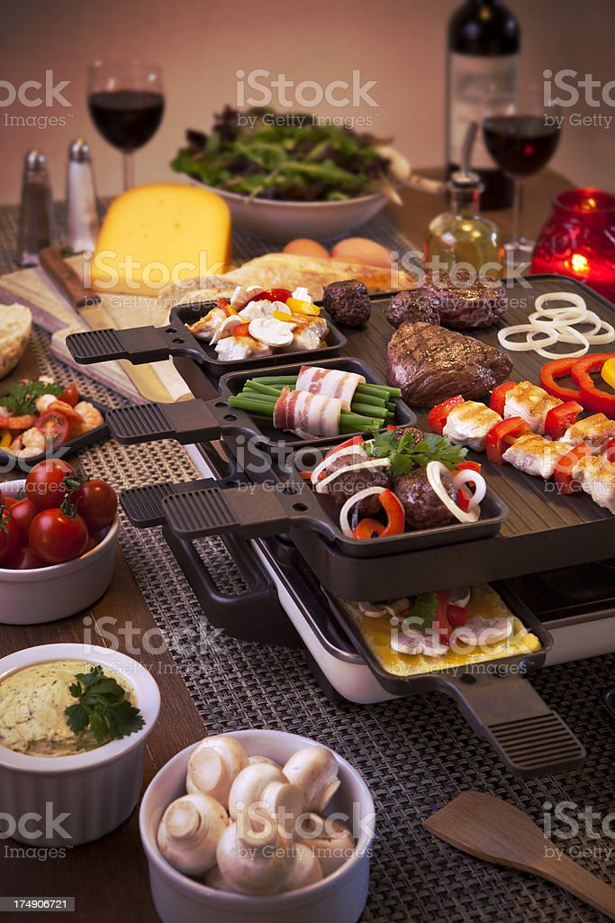 Raclette table-top grill or the Dutch variant 'gourmetten' stock photo