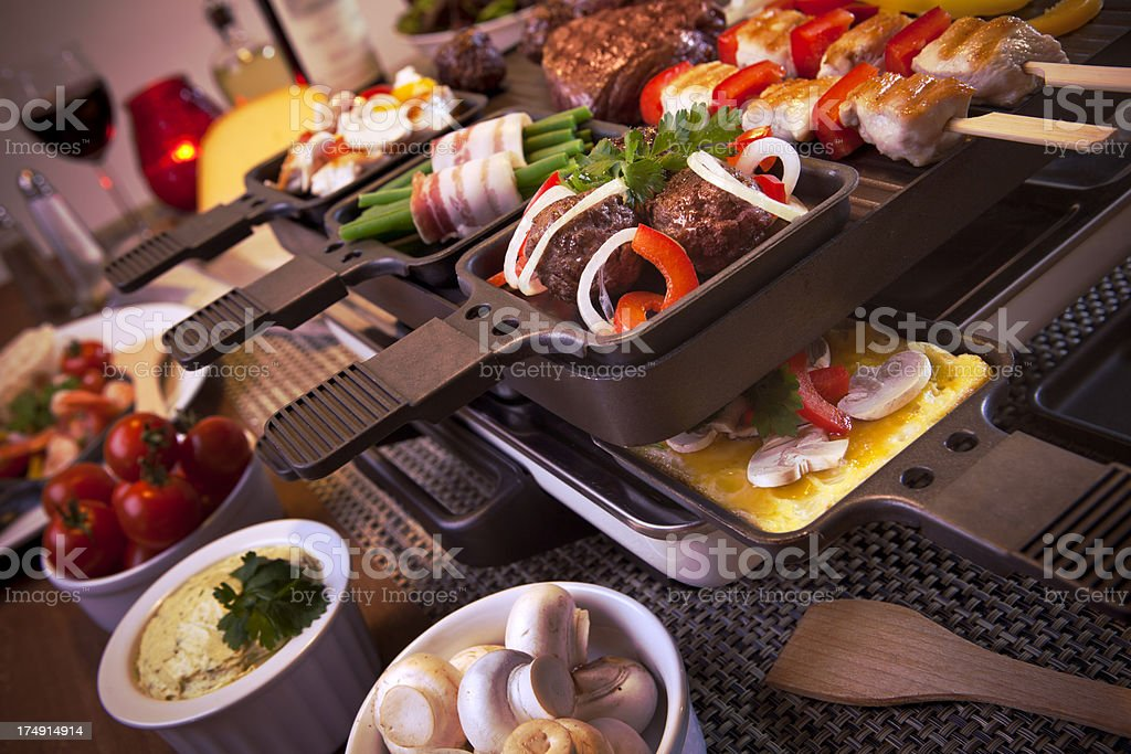 Raclette table-top grill or the Dutch variant 'gourmetten' royalty-free stock photo