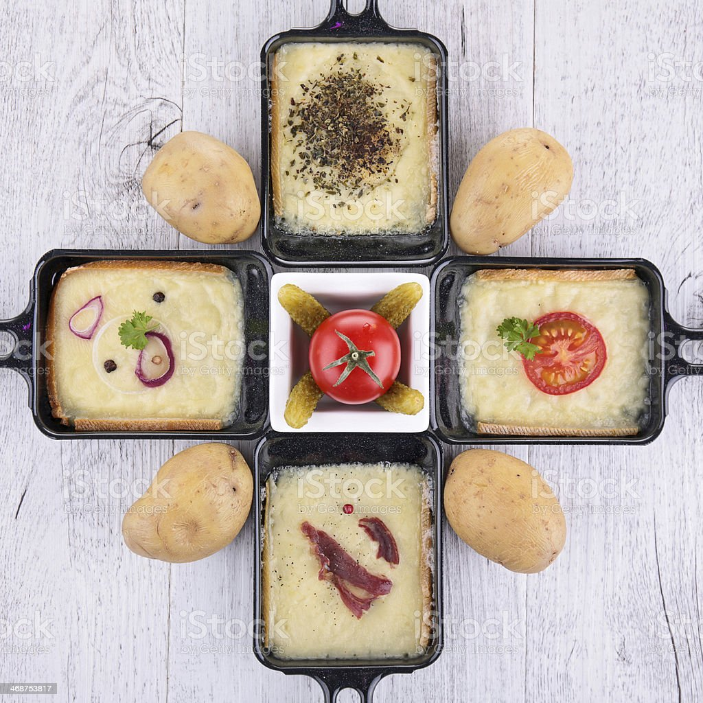 raclette tray stock photo