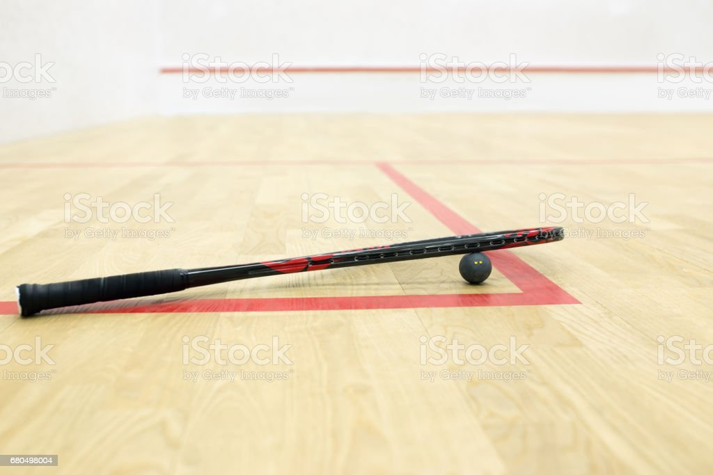 racquetball equipment on the court background stock photo