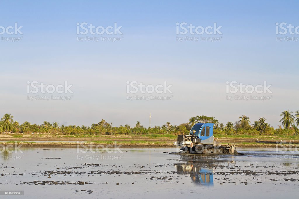 ractor working for rice seeding field royalty-free stock photo