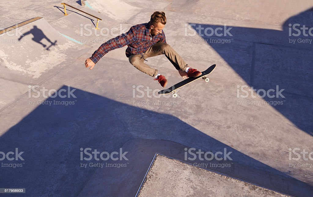 Rad day at the skate park stock photo