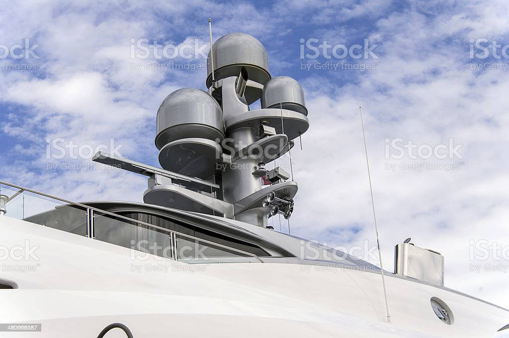 Radar and communication tower on a yacht royalty-free stock photo