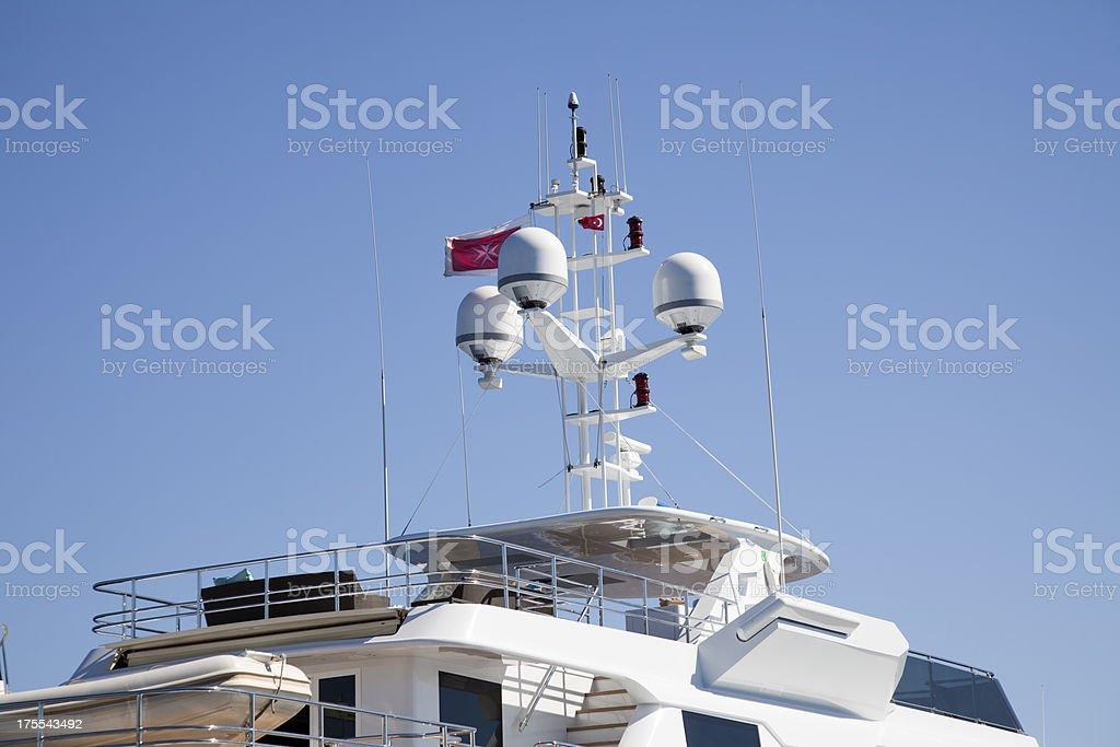 Radar and gps equipment on luxurius yacht stock photo