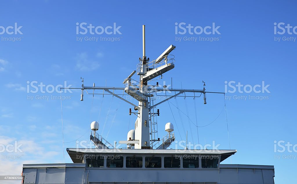 Radar and other communications on the ship. stock photo