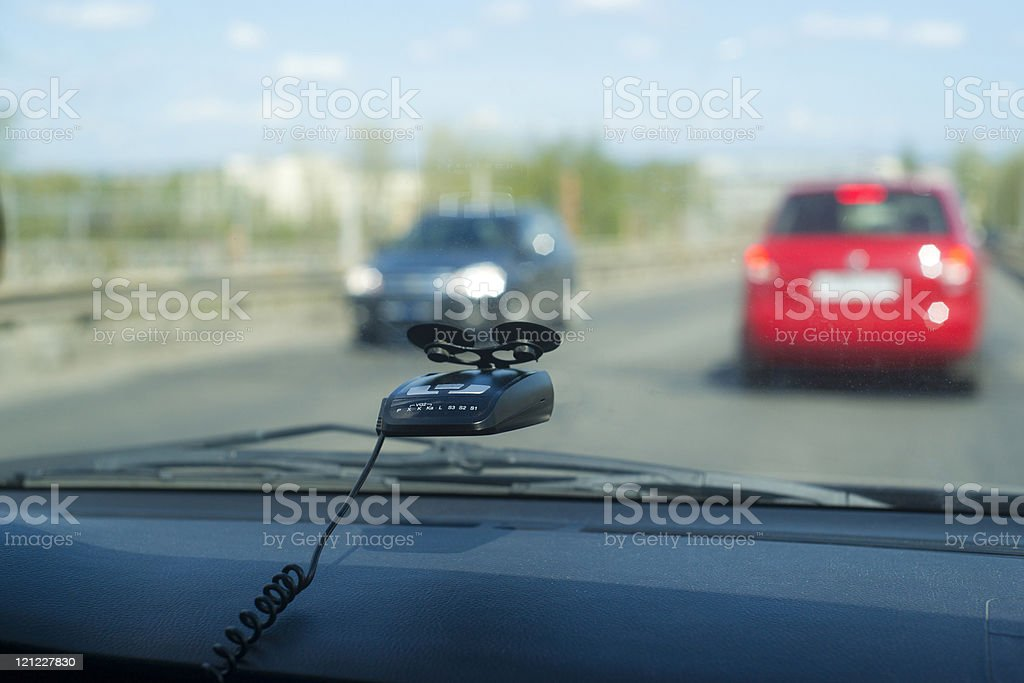 Radar detector in car royalty-free stock photo
