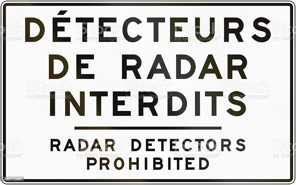 Radar Detectors Prohibited in Canada stock photo