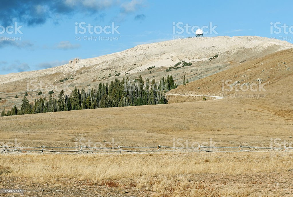 Radar dome in Big Horn Mountains of northern Wyoming royalty-free stock photo