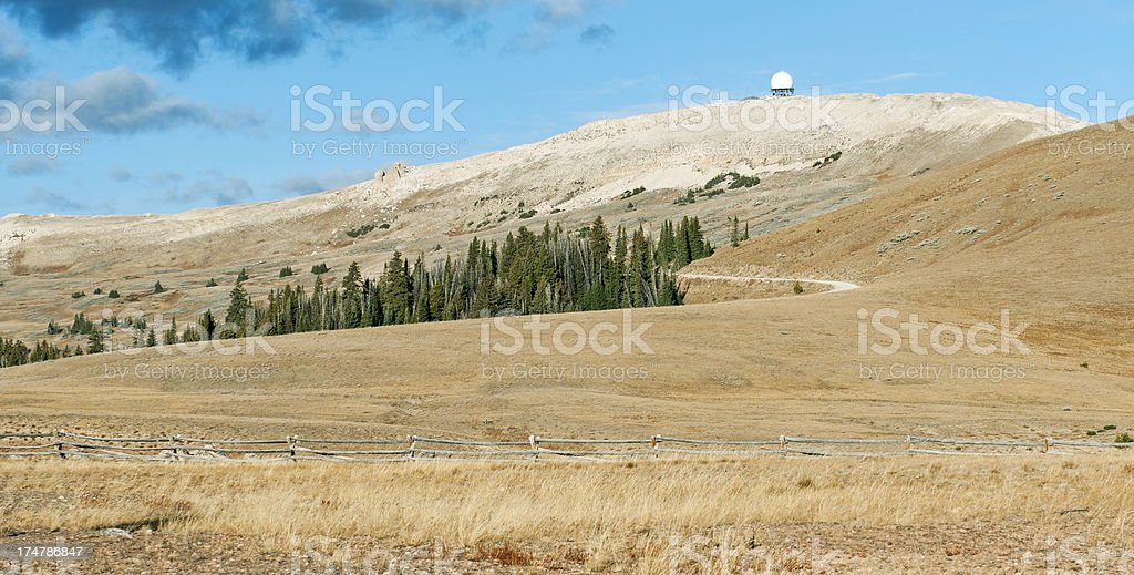 Radar dome on Medicine Peak in Wyoming royalty-free stock photo