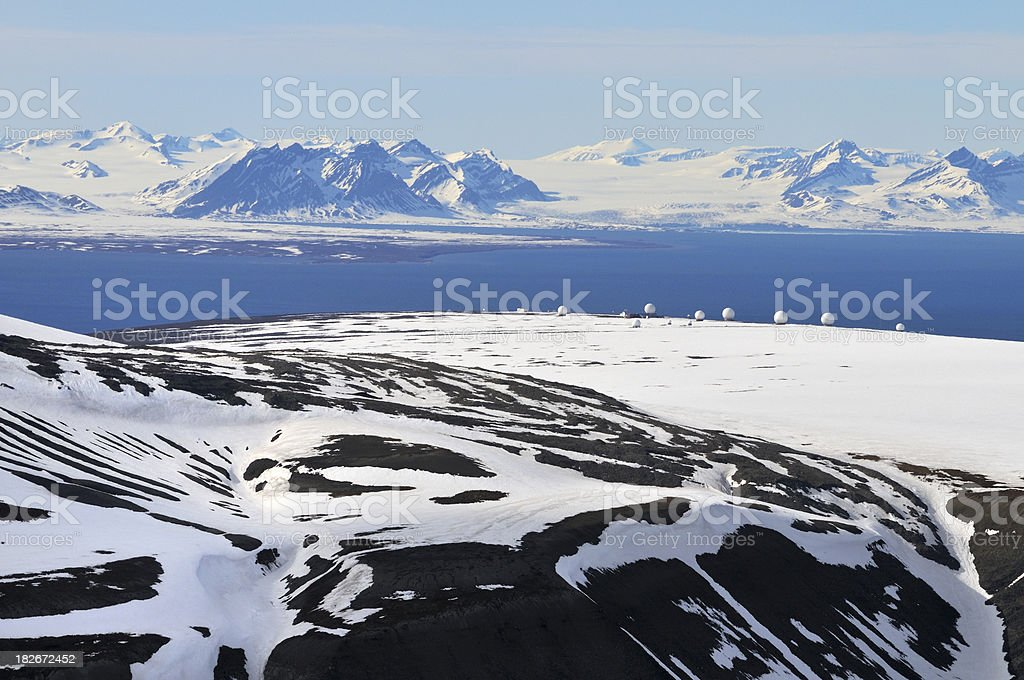 Radar domes at Isfjorden, Svalbard royalty-free stock photo