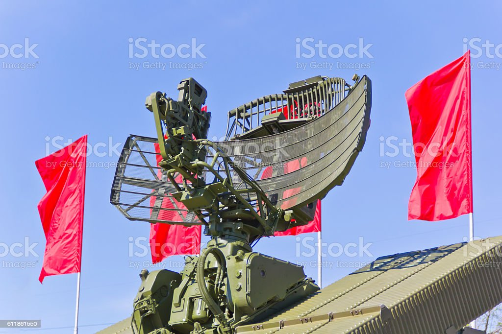 Radar of military transport stock photo