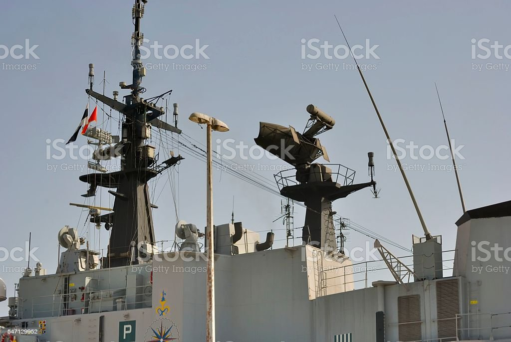 Radar on military ship stock photo