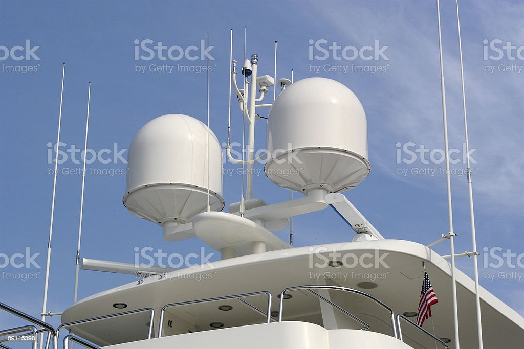 Radar on Private Yacht stock photo