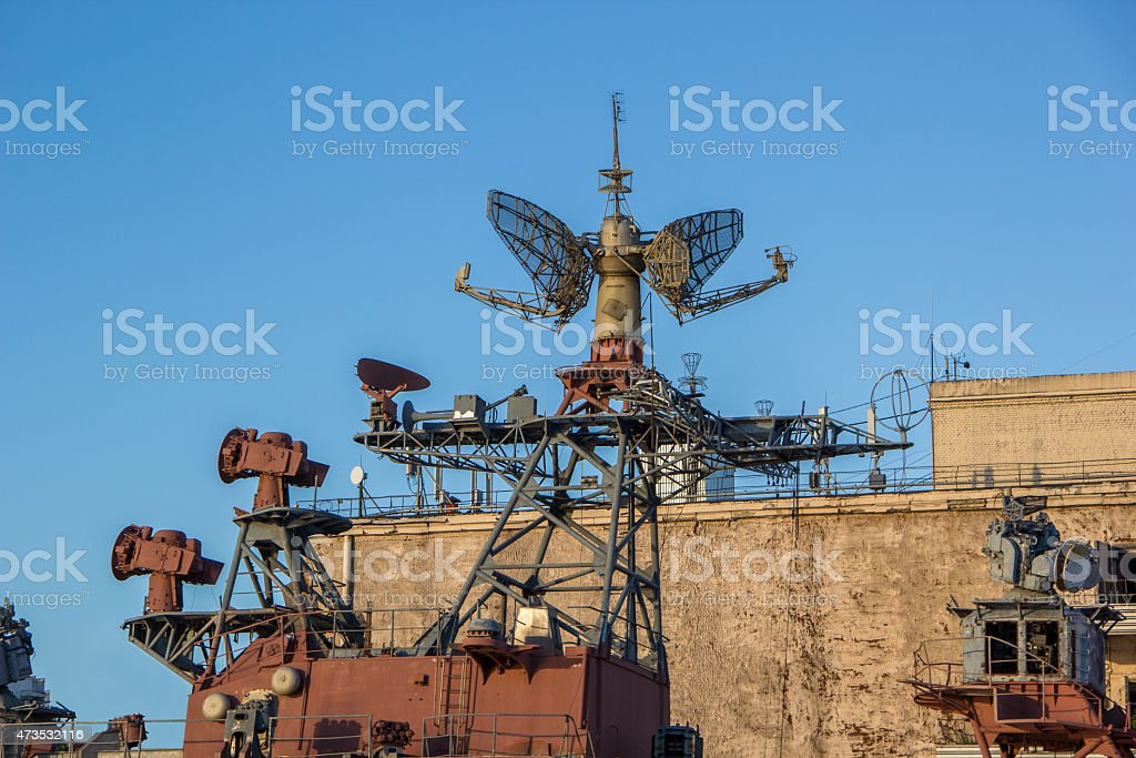 radar system of old battle ship stock photo