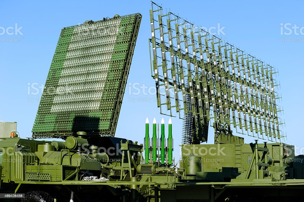Radars and rocket launcher stock photo
