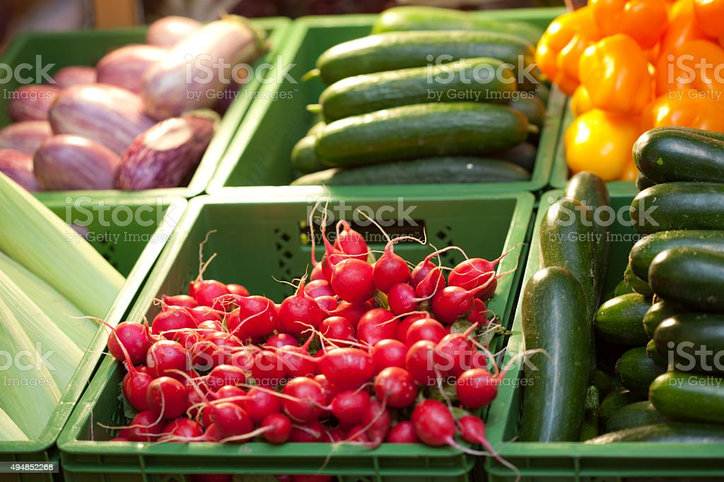 raddish in health food shop stock photo