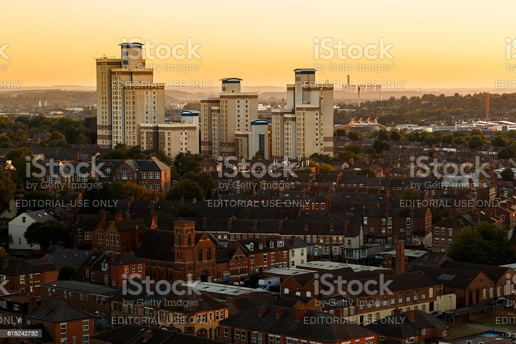 Radford flats tower block, power station behind, Nottingham. stock photo