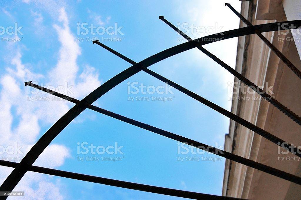 Radial anti-climb spikes at a fire escape foto de stock libre de derechos