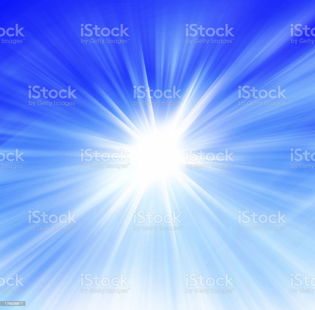 Radial blue and white abstract background with flares stock photo