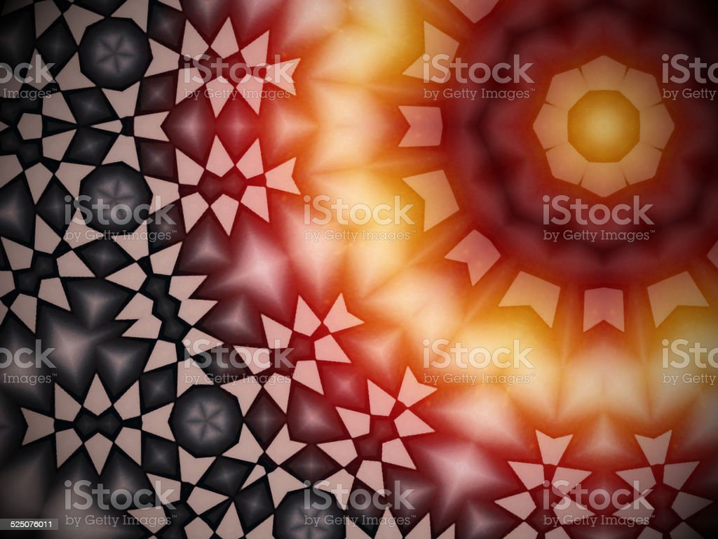 Radial geometric glowing pattern with warm colors stock photo