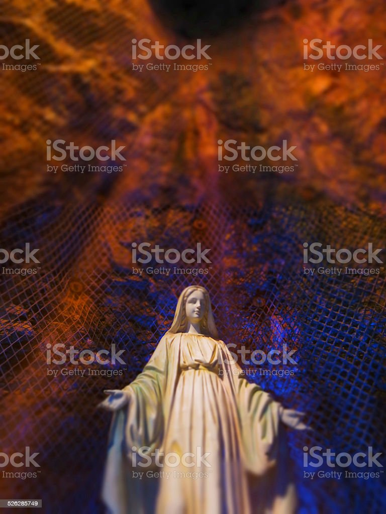 Radiant Mother Mary Statue, Saint Joseph's Oratory, Montreal stock photo