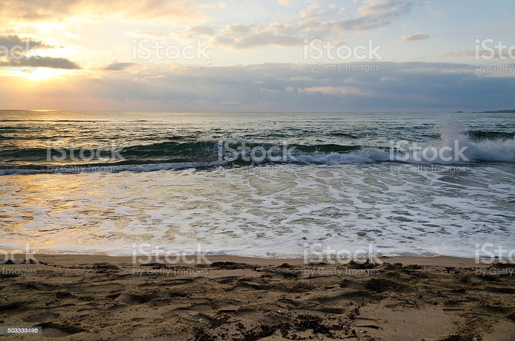 Radiant sea beach sunrise in Kiten, Bulgaria stock photo