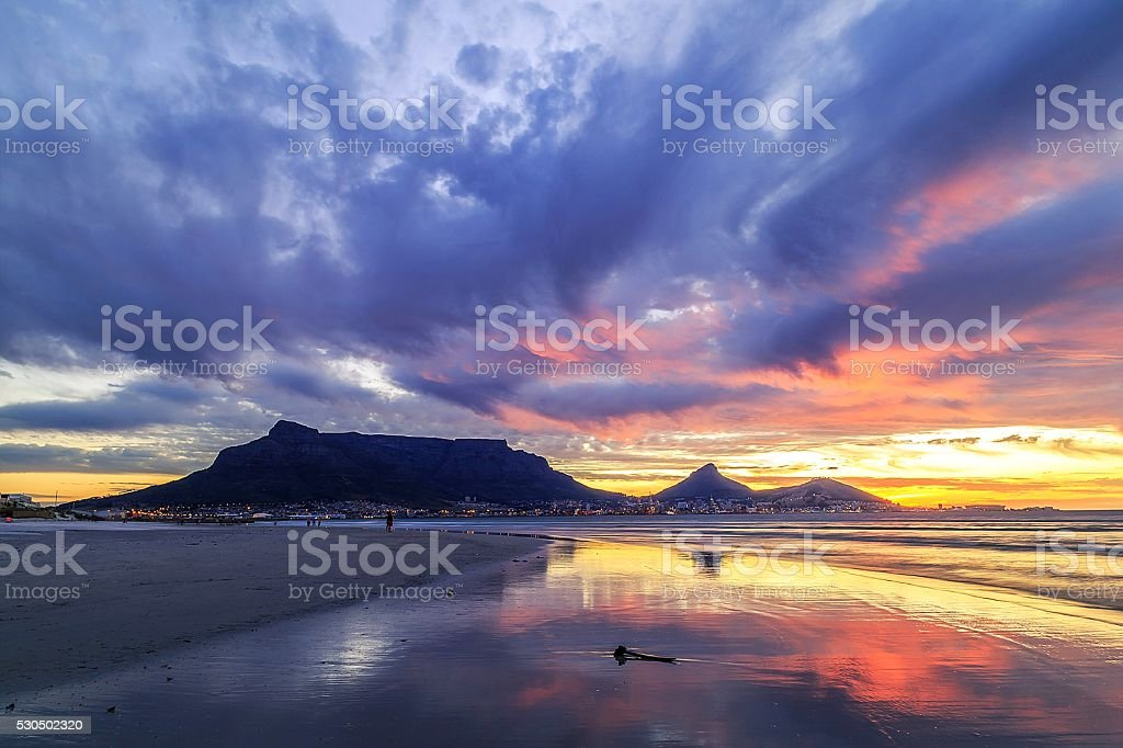 Radiant sunset in Cape Town stock photo