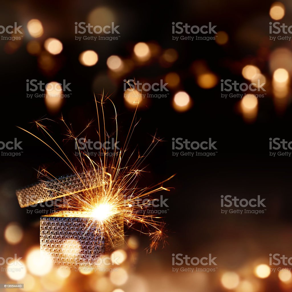 Radiant surprise gift for Christmas stock photo