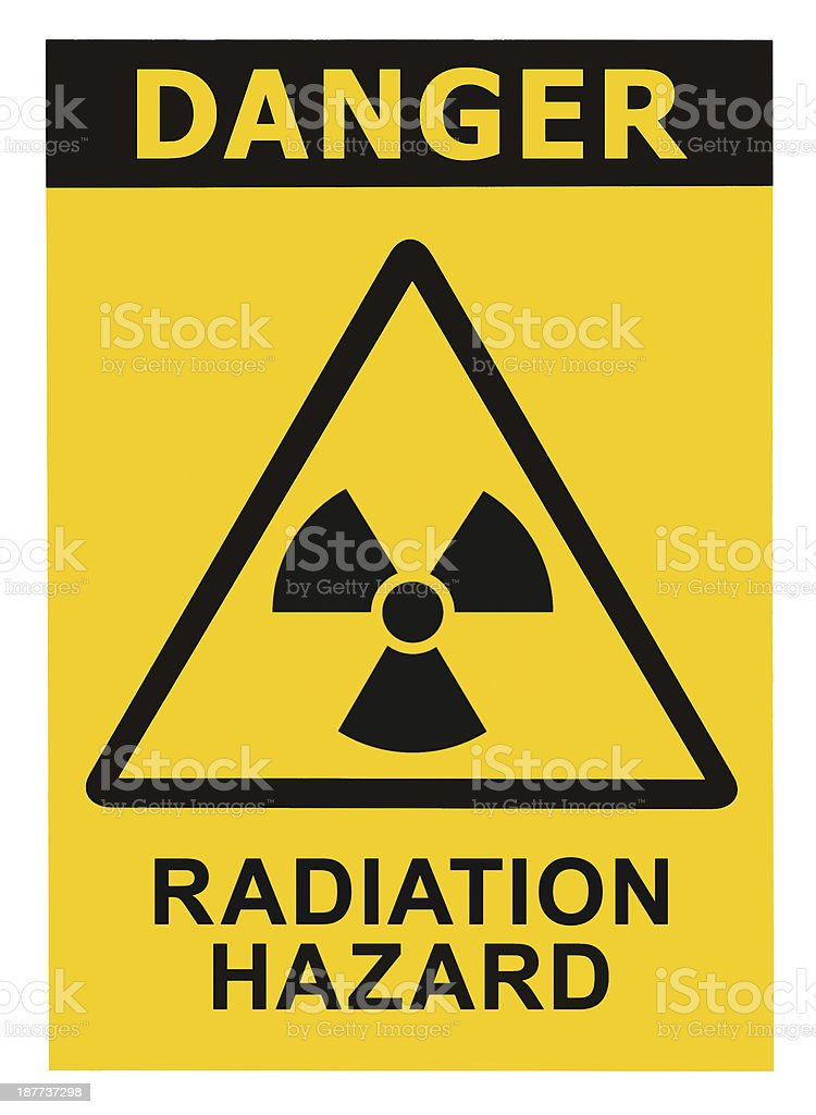 Radiation hazard symbol sign radhaz threat alert icon, black yellow stock photo