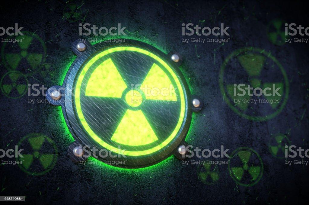 Radiation Warning Green Light stock photo
