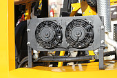 Radiator cooling fan on forklift truck