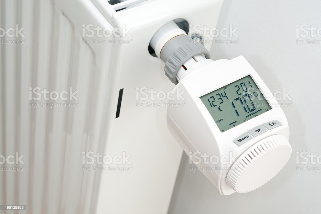 Radiator electronic thermostat stock photo