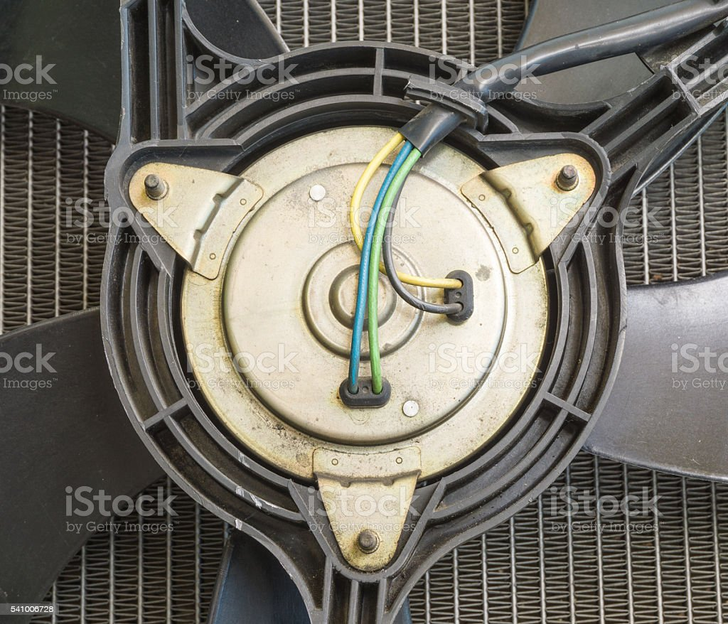 Radiator fan motor stock photo