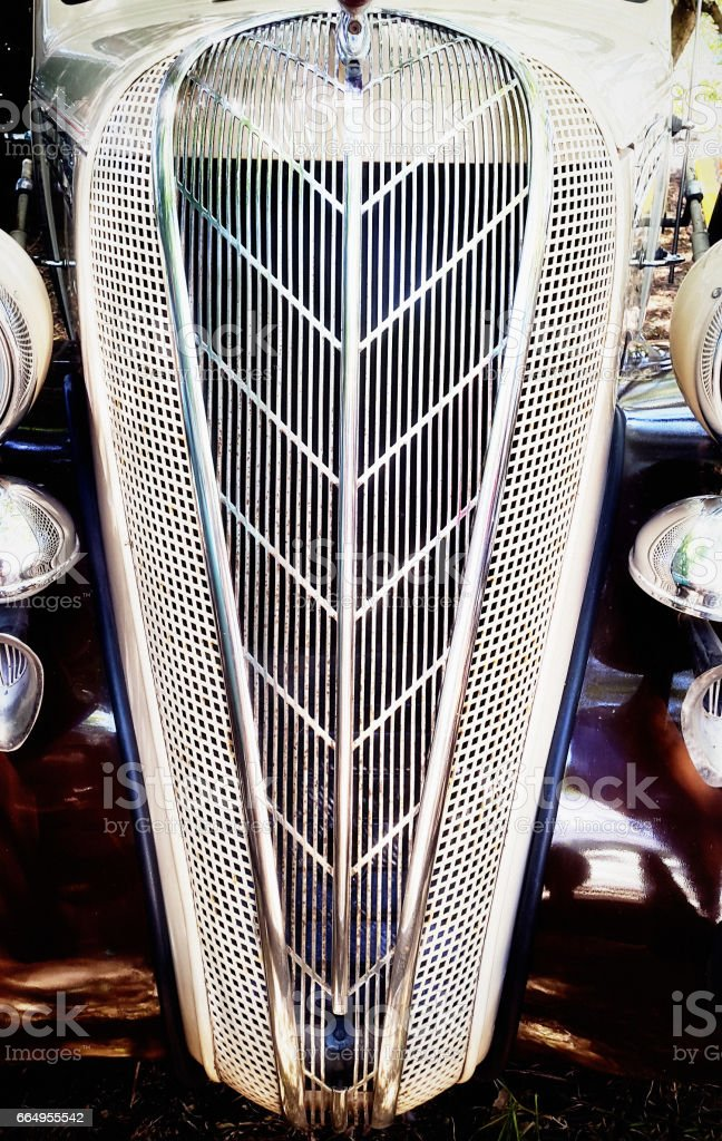 Radiator grille of 1930's era car stock photo